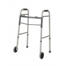 "Guardian Easy Care Two-Button Folding Walkers with 5"" Wheels"