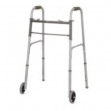 "Medline Two-Button Folding Walker w/ 5"" Wheels"