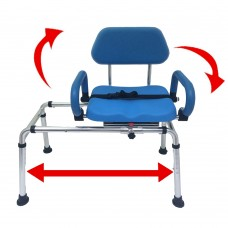 Platinum Health CAROUSEL Sliding Bath Bench, padded with swivel seat and armrests-BLUE